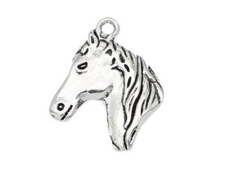 SET of 3 charm horse head silver plated lead and cadmium-free nickel free (D51)
