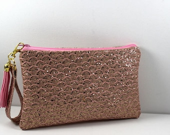 Pink Sparkle Faux Leather Clutch with Glitter, evening bag, cosmetic bag, dressy clutch, wedding clutch, cruise clutch, gift