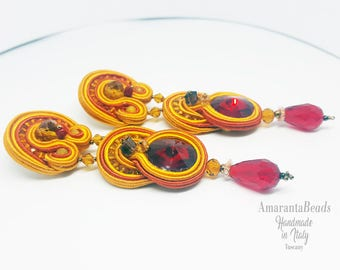Summer soutache earrings. Colorful light dangle earrings . Bijoux soutache made in Italy