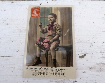 Vintage Antique 1900/1910 French real recolored photography postcard boy with  bouquet / Happy new year