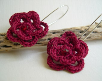 Red flower earrings - Lace fashion earrings - Red dangle earrings - Red lace earrings - Dangle earrings - Made in America - girlfriend gift