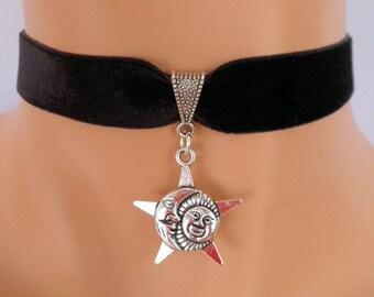 moon sun choker, black velvet choker, sun necklace, moon necklace, stretch ribbon