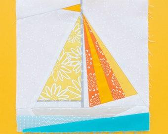 Sailboat Paper piecing pattern - Quilt block pattern