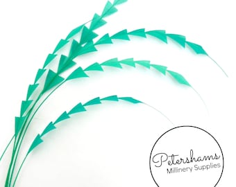 Zig Zag Coque Feather (Pack of 5) for Millinery & Fascinators - Jade