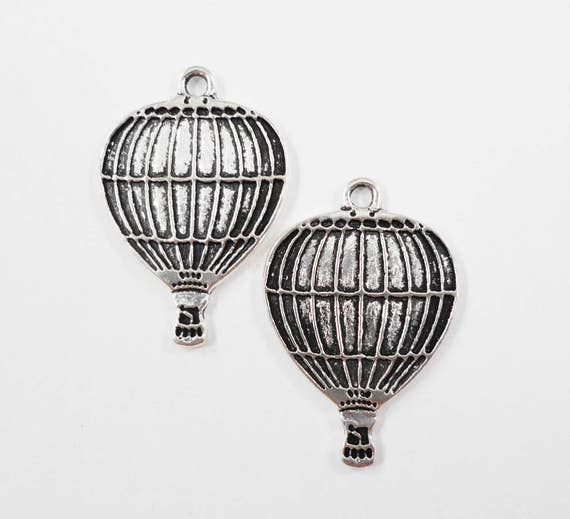 Hot Air Balloon Charms 23x15mm Antique Silver Balloon Charms, Hot Air Balloon Pendants, Silver Metal Charms for Jewelry Making, 10pcs