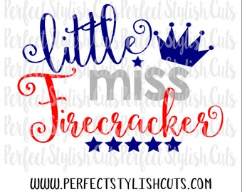 Little Miss Firecracker SVG, DXF, EPS, png Files for Cutting Machines Cameo or Cricut - 4th of July svg, Fourth of July Svg, America Svg