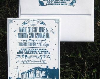 Custom Locale Letterpress Wedding Invitation & Customizable Envelope Design