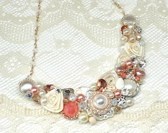 Coral Bridal Necklace- Coral Statement Bib- Salmon Bridal Necklace- Bridesmaid Necklace- Coral Pink Statement Necklace-Peachy Pink Necklace