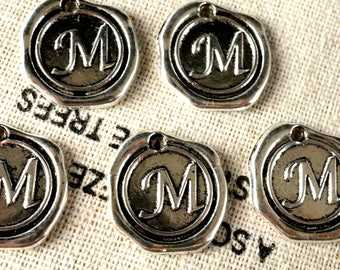 Alphabet letter M wax seal charm silver vintage style jewellery supplies
