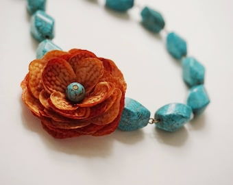 Statement Necklace Turquoise Necklace Orange Necklace Flower Necklace Bridesmaid Jewelry Bridesmaid Gift Beaded Necklace Bridal Necklace