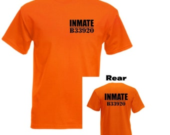 Inmate Jail Prison Orange Mens/Adults Novelty Short Sleeve Tshirt - Cosplay/Comicon/Fancy Dress/Party