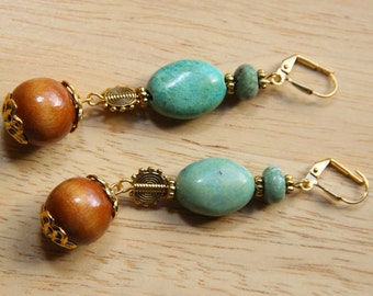 "2"" 3/4 L Amazonite n African opal, wood, drop, dangle earrings"