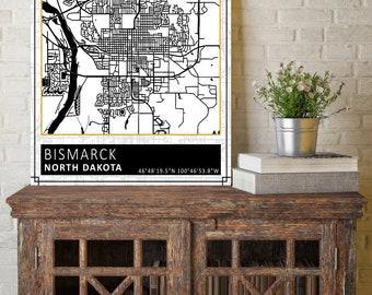 Bismarck city map Etsy
