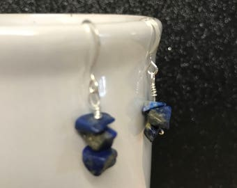 Lapis Lazuli chip earrings, Lapis Lazuli stone chips with gold specks, Ready to ship
