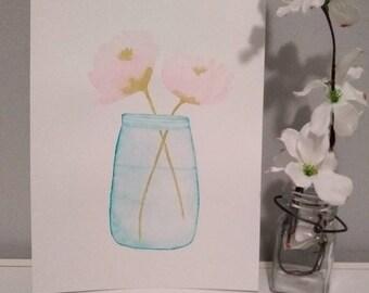Cute watercolor flowers in a jar painting