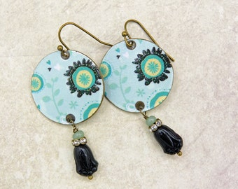 One of a kind earrings with Czech glass beads