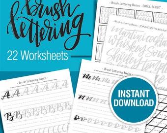 Brush Lettering Worksheets, Lettering practice, Learn calligraphy, Hand lettering guide, Modern calligraphy, tutorial, script