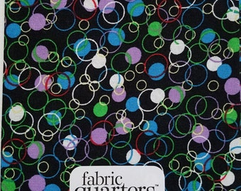 "Fabric Quarters Cotton Fabric 18""- Multi Circles on Black"
