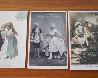 Set of Three Antique French Postcards Depicting People Dressed in 18th Century Costume