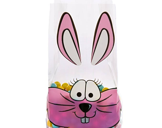 Party supplies lainaz boutique 100 easter bunny party favor bags gift bags cute holiday treat bags candy negle Image collections