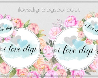 Wedding Floral Digital collage sheet - scrapbooking, cardmaking, invitations, tags, etc.