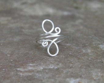 """Toe ring... """"Whirls"""" sterling silver wire wrapped toe ring."""