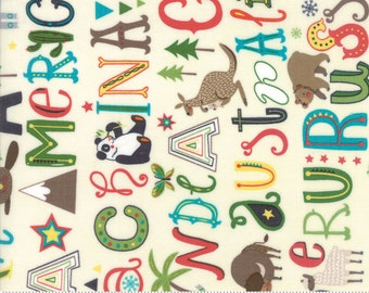 Children's Alphabet and Animal Fabric - Hello World by Abi Hall from Moda - 1 Yard