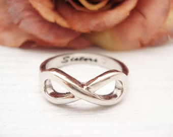 Personalized, Engraving available Infinity Ring, Silver custom ring, Sorority gift, Sisters ring, big and little sisters ring, Eternity ring