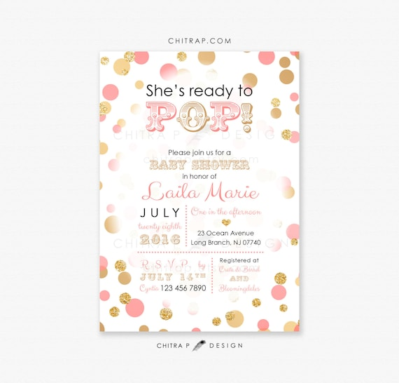 Items similar to ready to pop baby shower invitation printed items similar to ready to pop baby shower invitation printed coral pink gold black girl couples glitter sprinkle confetti bubbles brunch white 007 on filmwisefo Images