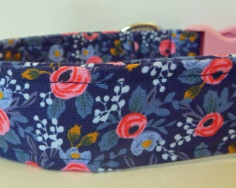 """Blue Pink Floral Dog Collar - Rifle Paper - Floral Girly - Vintage Blue with Pink and Blue Flowers Collar -""""Betsie"""" - Free Colored Buckles"""