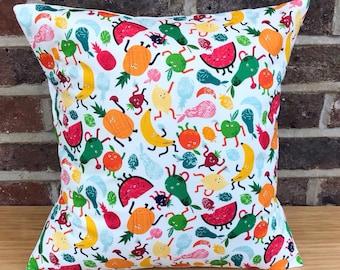 Fruit cushion, fruit pillow, bright fruity cushion, tropical cushion, pineapple cushion, orange cushion, tropical fruit pillow, apple pillow