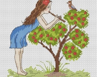 Girl with flute Pattern Cross Stitch
