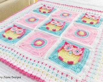 OWL BLANKET PATTERN  Owl Blanket Crochet Pattern Crochet Owl Blanket Pattern - Baby Owl Blanket Pattern Crochet Owl Blankets Crochet Blanket
