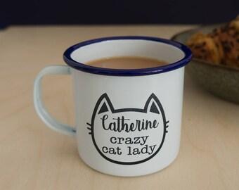 Personalised mug. Funny Crazy cat lady design enamel mug and engravred wooden coaster set. Cat lovers L271
