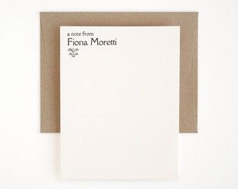 Personalized Letterpress Stationery Set - Flat Note Cards - Rialto