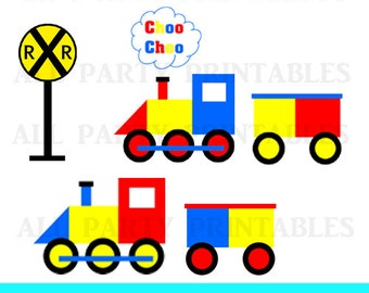 Train Clipart, Train Clip Art, Train Graphics, Railroad Clipart, Choo Choo Clipart, Train and Caboose