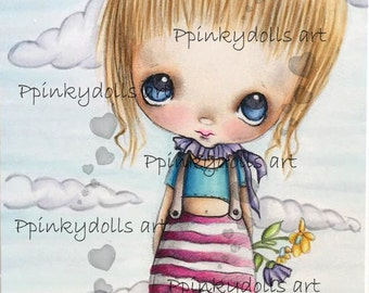 INSTANT DOWNLOAD Digital Digi Stamps..by Chrishanthi's art,Babe doll'