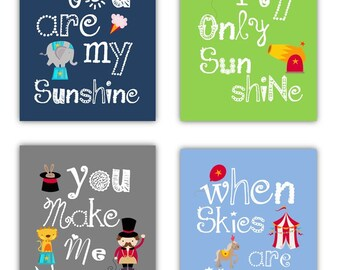 Circus Art for Kids // Circus Wall Art // Circus Decor // Circus Art Prints // Circus Nursery Decor // Playroom Art // 4-8x10 PRINTS ONLY