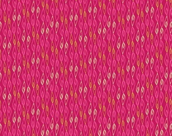 Flame stripe pink patchwork fabric from Makower. Sundance range from Makower by Beth Studley bright pink 'flame' print. Makower code 1927/P.
