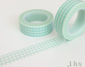 Aqua Washi Tape (Aqua Grid Decorative Tape) Craft Supply • Scrapbook • DIY • Embellishment • Card Making • Papercraft • Washi Tape (065862)