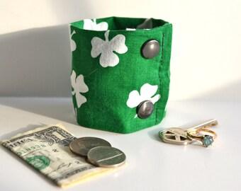 Money Cuff - Secret Stash- The Luck Of the Irish- hide your cash, key, jewels  etc in a hidden inside zipper