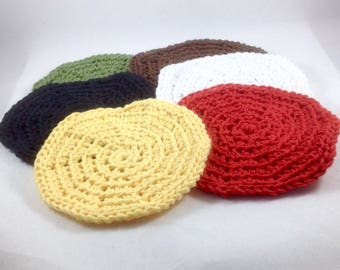 Coaster Set, 6 Mug Rugs, Crocheted Cotton Coasters, Black, Brown, White, Green, Red, and Yellow Coasters, Bridal Shower, Housewarming Gift
