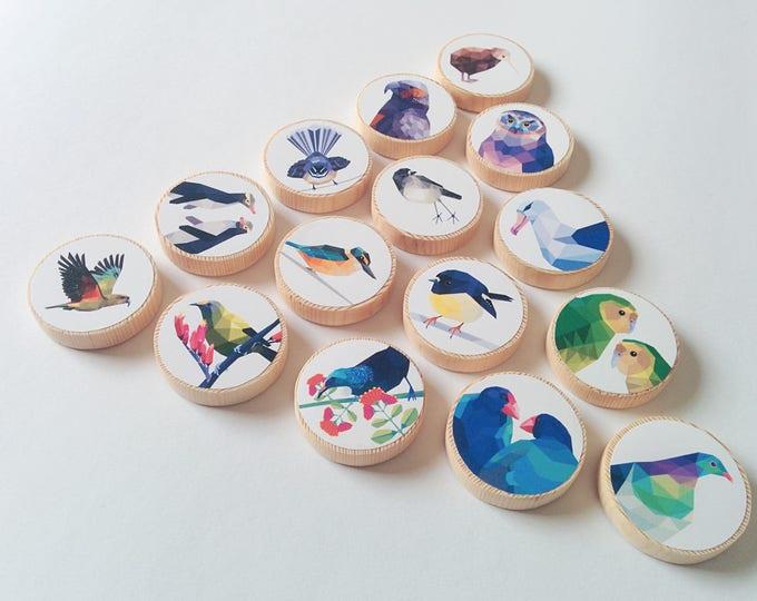 Memory game, Wooden match game, Wooden toys, New Zealand kids, Kea art, Geometric memory game, Kiwiana gift, Tui, Kiwi, New Zealand birds