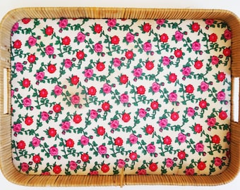 Great vintage rattan wicker tray flower 1970 fabrics