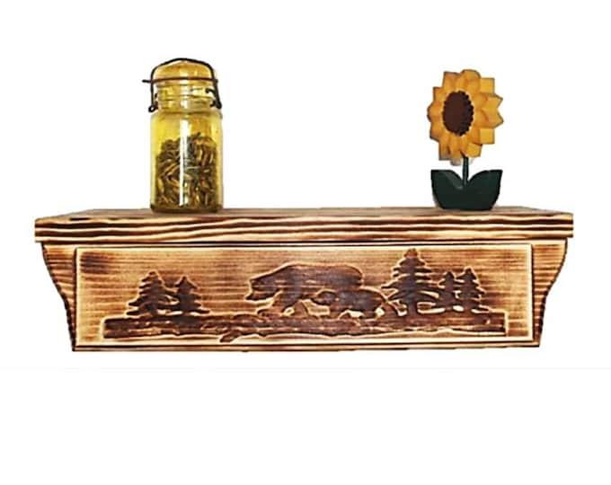 """17 1/2"""" Wooden Wall Shelf Bear Carving Hidden Compartment"""