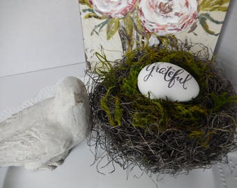 Grateful Bird Nest Shabby Modern Home Decor by Perch and Patina