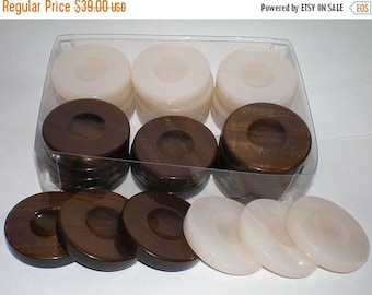 For Sale 30  Brown & White Backgammon Checkers - Chips  1.4 inches - High Quality
