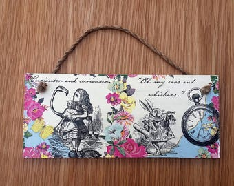 Alice wonderland plaque  - alice room decor - wonderland home decor