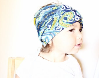 Baby headband, turban, toddler bohemian baby, cool toddler clothes- blue tribal stretchy- ready to ship, eco friendly, baby gift idea