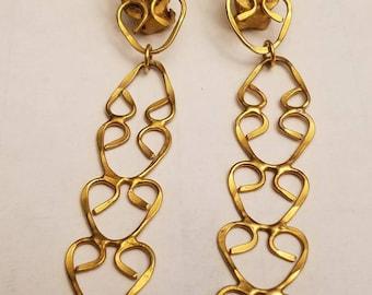 gold greek design dangle clip on earrings